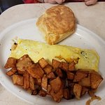 Omelette and Hash Browns with Biscuit