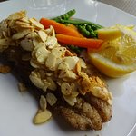 main dish: pollack (fish steak) with fried almond