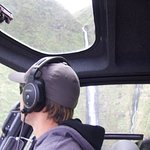 Our pilot doing a 360 in front of the waterfall
