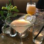 lavender martini and peach bellini