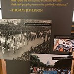 Sign in Exhibit with quote from Thomas Jefferson - still very timely.
