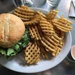 Portobello sandwich with waffle fries and fry sauce