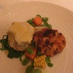 Monk fish and crab ravioli, tasty.