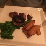 Grilled West County, duck fat chips, field mushroom