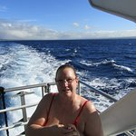 My lady enjoying the ride out to Molokini