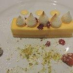 Crostata di Limone - lemon tart, coconut anglaise w Italian meringue buttons served w fresh berr