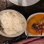 Steamed rice for 2 (left) and Roasted Duck Red Curry (right)