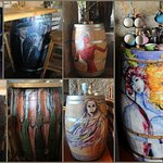 Decorated wine barrels used as tables
