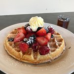 Belgian waffle with whipped butter
