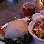 Bison burger with poutine and crudite plate.