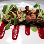ANATRA Long Island duck breast, green beans, maitake mushrooms, cauliflower purée, spicy glaze