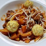 CASERECCI rolled pasta, lamb neck ragù, butternut squash, mint, goat cheese croutons