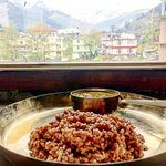 Local red rice with simple masoor dal curry! In our lunch menu