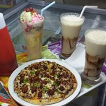 Pizzas and shakes