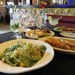 Cuba Cafe Caesar Salad, Cubano, Sampler plate and Pork with rice and beans