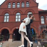 Giant statue in front of the old US Customs House. The museum inside is only OK.