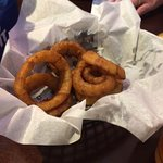 Basket of onion rings after we ate at least half of them