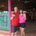 Enjoying a Red Stripe at Ultimate Jerk Centre in Ocho Rios!