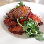 Hasselback Sweet Potato and Ratatouille
