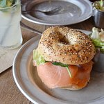 My salmon bagel, salivating!