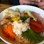 Chirashi, veggies and sashimi on a bed of rice is excellent.