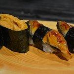 Uni gunkan sushi and Unagi nigiri sushi