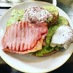 Avocado toast with poached eggs and bacon