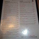 Sandwiches and Burgers menu.