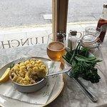 Fish Pie, greens, and Italian beer