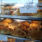 Trays of delicious pasty are freshly baked and make a nice meal