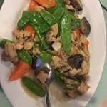 Chicken with mushrooms. . .but it's not really chicken. Delicious sauce and so fresh!