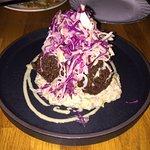 Falafel--crispy chick pea fritters, baba ganoush, lemony cabbage slaw
