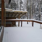 Large front deck overlook river