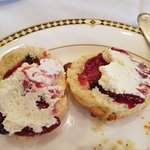 The blueberry white chocolate scones with raspberry jam and cream