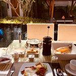 Delicious fresh breakfast brought to the villa