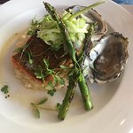 Sea trout, risotto with asparagus and oysters
