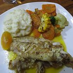 Fresh Sea Bass with sauteed vegetables and smashed potatoes