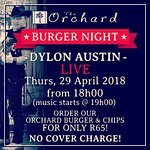 Burger Night with Dylon Austin LIVE (burger night every Thursday night)