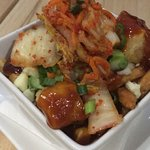 Kim chi poutine with tofu