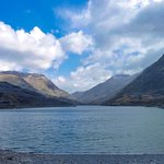 Llyn Peris lake, view towards Llanberis Pass. The lower lake from which the power station is dri