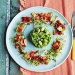 Pea, broad bean and red pepper salad
