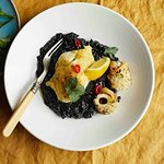 Grilled cod, squid ink risotto and chilli squid