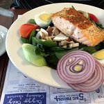 Delicious Spinach Salad with Nice Portion of Salmon