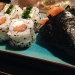 avocado temaki and various sushi