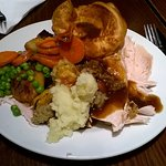 Carvery selection - turkey and veg with Yorkshire pudding