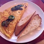 Omelet special with fiddlehead ferns