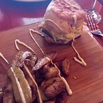 Egg and sausage biscuit with fingerling potatos