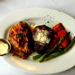 Filet with baked potato, carrots and asparagus