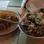 Sweet potato tacos and poke bowl with quinoa