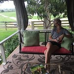 Relaxing on the porch swing